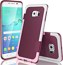 Galaxy S6 Edge Case, TILL(TM) Ultra Slim 3 Color Hybrid Impact Anti-Slip Shockproof Soft TPU Hard PC Bumper Extra Front Raised Lip Case Cover for Samsung Galaxy S6 Edge S VI Edge G925 [Wine]