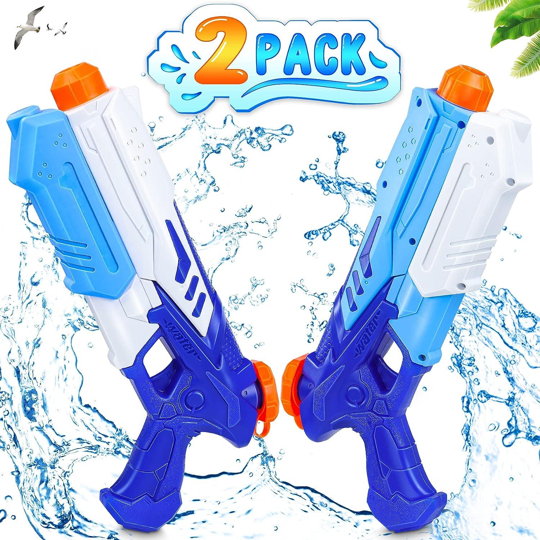 lenbest 2 Pack Pistolas de Agua, 300ML Pistolas Juguetes Agua , Juego de Pistolas de Chorro de Largo Alcance de 10 M, Verano Juguetes de Agua Juego, Jardín, Playa, Piscina Al Aire Libre,niño,