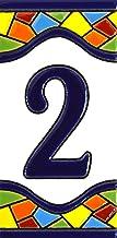 Huisnummer. Borden met cijfers en nummers op keramische tegel. Handgeschilderde koordtechniek voor borden met naam, adress...