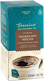 Teeccino Herbal Tea – Dandelion Mocha – Rich & Roasted Herbal Tea That's Caffeine Free & Prebiotic with Detoxifying Dandel...