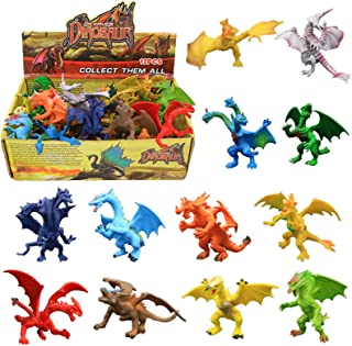 Best Dragon Toys,12 Piece Assorted Realistic Looking Dragon Figure,4 Inch Mini Dragons Sets with Gift Box,ValeforToy Non-Toxic Safety Materials ABS Vinyl Plastic Dragon,Party Favors Toy for Boys Kids Review