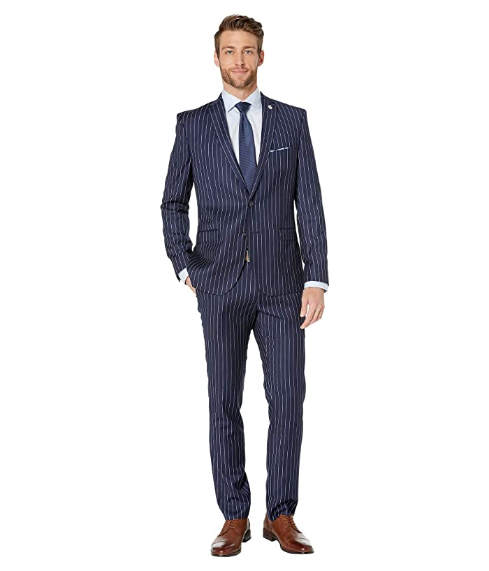 1960s Mens Suits | 70s Mens Disco Suits Nick Graham Pinstripe Suit Navy Stripe Mens Suits Sets $153.19 AT vintagedancer.com
