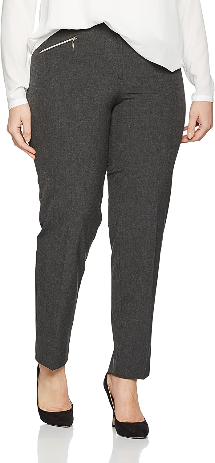 Ulla Popken Women's Plus Size Zipper Pocket Comfort Fit Pants 707425