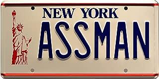 Celebrity Machines Seinfeld   Assman   Metal Stamped License Plate