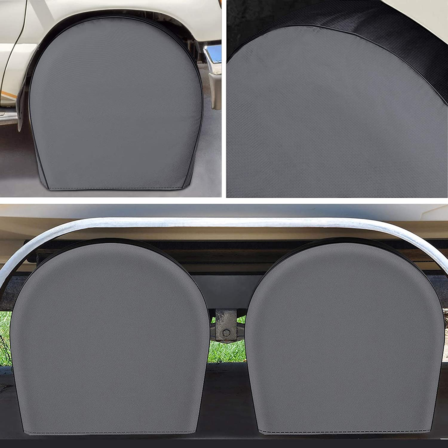 Zuihao Upgraded Heavy Duty 900D RV Tire Covers Set of 4 for Trailers - Waterproof PVC Coating Motorhome Camper Tire Wheel Portector, Fits 40-42 inches Tires