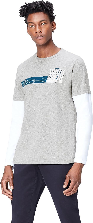 Marca Amazon - find. Camiseta de Manga Larga con Estampado para Hombre