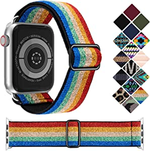 KRISVI Stretchy Watch Bands Compatible with Apple Watch Bands 44mm 42mm, Adjustable Elastic Apple Watch Bands Women Compatible with iWatch Series 6 5 4 3 2 1 SE(Shiny Rainbow 42/44)
