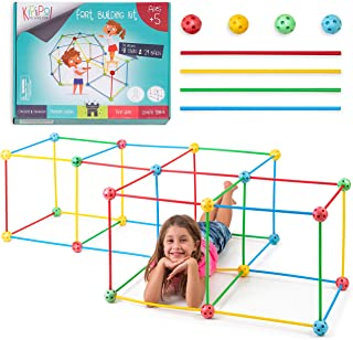 Kipipol Fort Building Kit for Kids - 77 Pcs STEM Construction Building Toys for Boys and Girls Age 5+ - Build Castles, Tun...