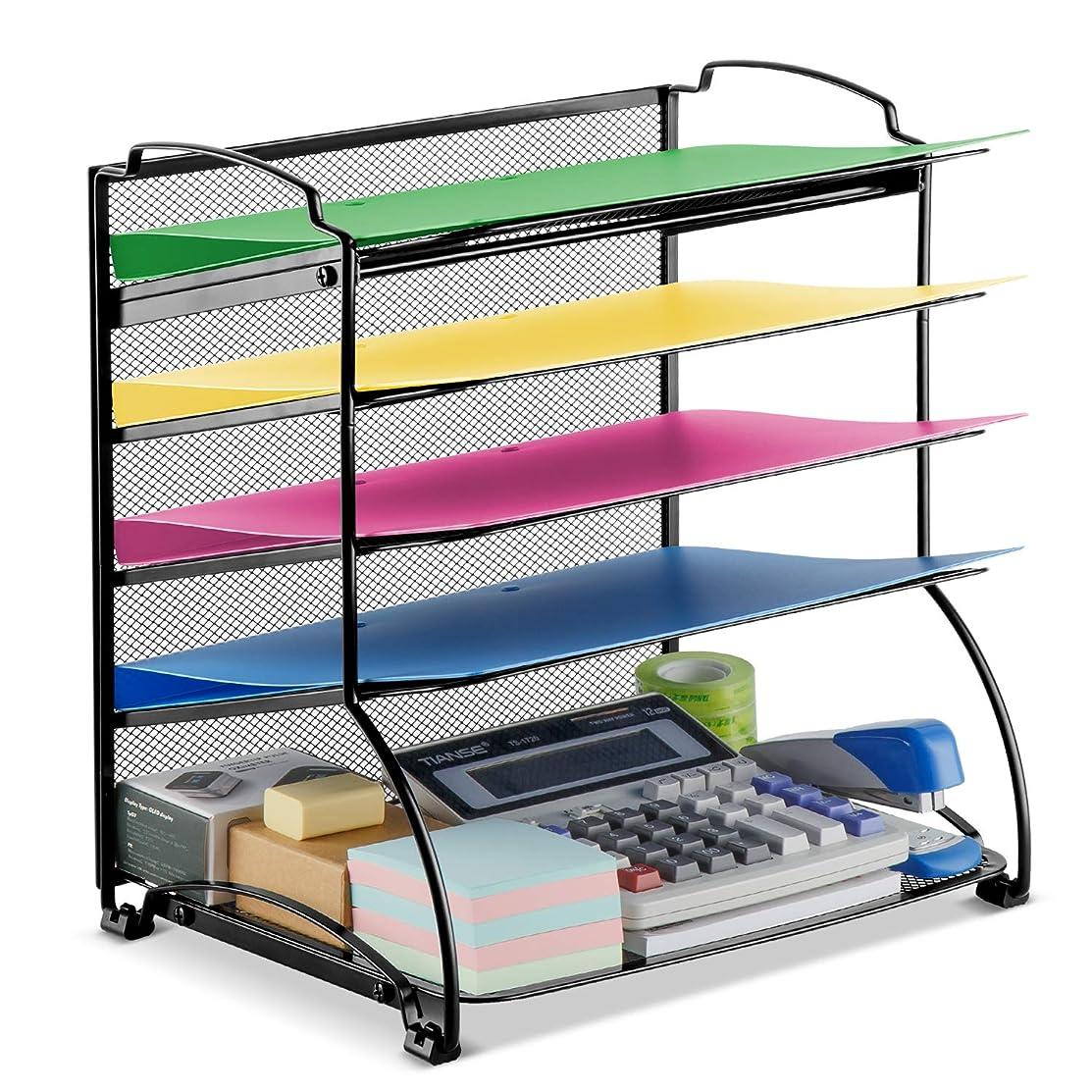 Bextsware 5-Tier Mesh Desktop Organizer File Folder Document Letter Tray Holder Desk Accessories Organization Supplies for Office or Home, Black
