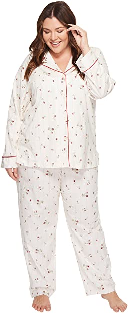 LAUREN Ralph Lauren - Plus Size Folded Classic Knit Pajama