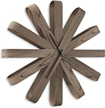 Umbra Ribbonwood Large Modern Wall Clock, Battery Operated, Silent, Non ticking, Unique, Aged Walnut