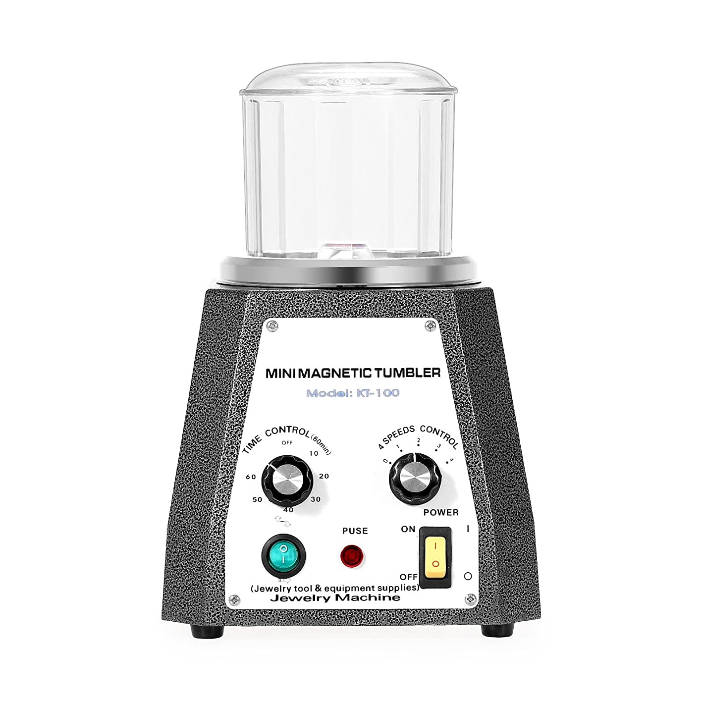 Mophorn Magnetic Tumbler Jewelry Polisher 110V Magnetic Grinding and Polishing Machine 4 Speeds Control Jewelry Polisher Tumbler 3.93 inch for Platinum Gold Silver Stainless Steel (100 mm) v87396356785810