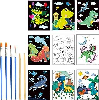LANMOK Carte à Gratter Dinosaure Double Face 18 Pcs Dessin Gratter pour Enfants Scratch Art Paper Créatifs avec Crayons à ...