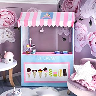 Tiny Land Ice Cream Cart - Portable Play Store and 4 Pretend Food- 47 Inches Tall- Colorful Kids Business Cart for Child Development and Learning- Children Playhouse Indoor & Outdoor