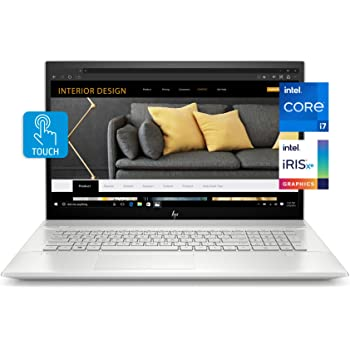 HP Envy 17 Laptop, Intel Core i7-1165G7, 12 GB DDR4 RAM, 1 TB HDD, 128 GB SSD, 17.3-inch FHD Touchscreen Display, Windows 10 Home W/ Fingerprint Reader, Camera Kill Switch (17-ce2010nr, 2020 Model)