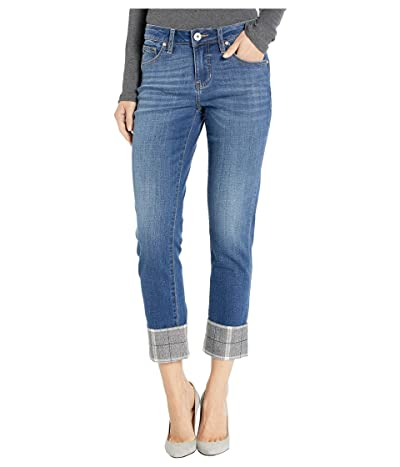 Jag Jeans Carter Girlfriend Jeans with Plaid Cuff in Brilliant Blue (Brilliant Blue) Women