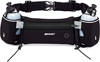 Running Belt with Water Bottles | Running Hydration Belt has Water Resistant Waist Pack to Fit iPhone, Samsung, Android, etc | Adjustable Belt | 10oz Bottles | Attach Race Number | Hiking & Cycling