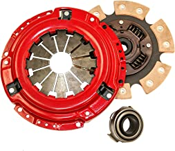 Yonaka Compatible with Honda D-Series 6 Puck Stage 3 Performance Heavy Duty Clutch Kit Set Ceramic Disc D15 D16 D17