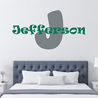 Personalized Boy's Name And Initial Wall Decal, Choose Your Own Name, Initial And Letter Styles, Multiple Sizes, Wall Sticker Decor, Wall Decal, Boy's Nursery Personalized Custom Name Wall Decals