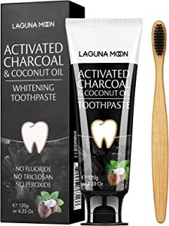Activated Charcoal & Coconut Oil Teeth Whitening Toothpaste, 100% Natural Charcoal Toothpaste for Whitening Teeth, Removin...