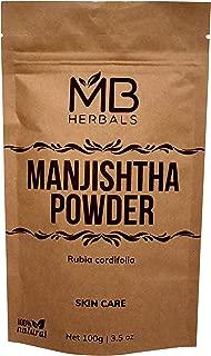 MB Herbals Manjishtha Powder 100g | 100% Pure Rubia cordifolia Root Powder | Organically Cultivated Indian Madder Root Powder Manjistha