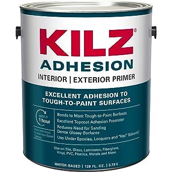 KILZ L211101 Adhesion High-Bonding Interior Latex Primer/Sealer, White, 1-Gallon, 1 Gallon, 4 l