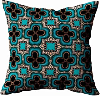 Musesh moroccan geometric floral pattern teal tan black decorative Cushions Case Throw Pillow Cover For Sofa Home Decorative Pillowslip Gift Ideas Household Pillowcase Zippered Pillow Covers 18X18Inch