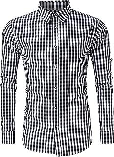 Men's Long Sleeve Plaid Button Down Dress Shirts for German Bavarian Oktoberfest Classical Costumes