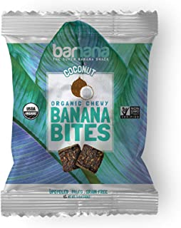 Organic Coconut Chewy Banana Bites - 1.4 Ounce (12 Count) - Delicious Barnana Coated Potassium Rich Banana Snacks - Lunch Dinner Sports Hiking Natural Snack - Whole 30, Paleo, Vegen
