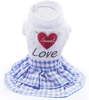 LKEX Love Dog Dress for Girl Sweet Pet Skirt Cute Clothes Shirts for Small Medium Large Dogs Cats Puppy for Summer
