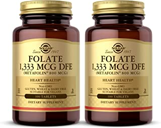 Solgar Folate 1,333 mcg DFE, 100 Tablets - Pack of 2-800 mcg Bio-Active Metafolin - Heart Health - Non-GMO, Vegan, Gluten ...