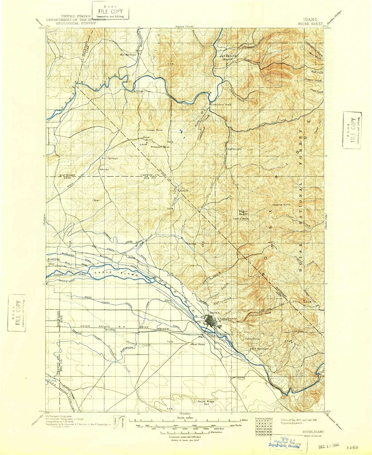 Boise ID topo map, 1 125000 Scale, 30 X 30 Minute, Historical, 1897, Updated 1948, 20.73 x 16.98 in
