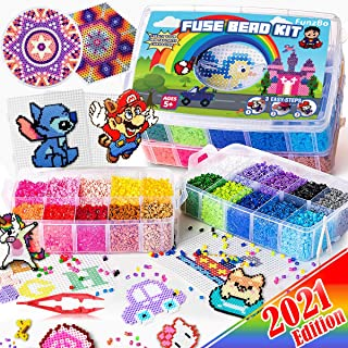 FunzBo Fuse Beads for Kids Craft Art - 106 Patterns Fusebead Melty Fusion Colored Arts and Crafts Set for Boys Girls Age 4...