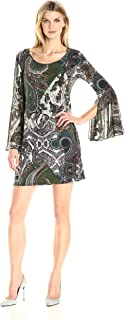 MSK Women's Paisley Printed Knit-to-Woven Bell Sleeve Shift Dress