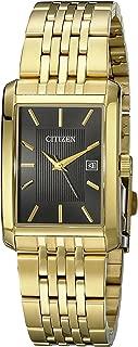 Citizen Men's Goldtone Black Dial Rectangular Watch