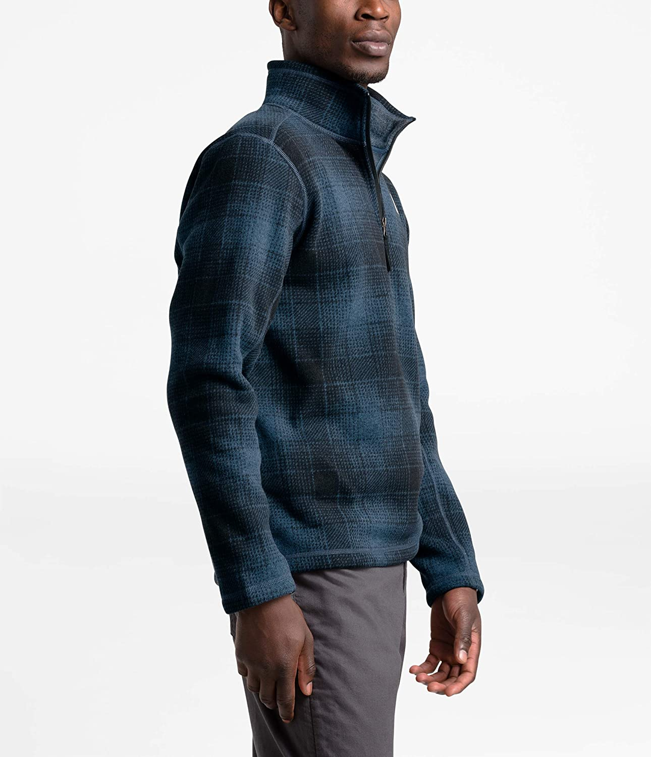 The North Face Gordon Lyons Novelty Fermeture Éclair ¼ pour homme Shady Blue Ombre Plaid Small Print