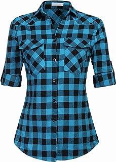 UNibelle Geruit overhemd voor dames, lange mouwen, geruit katoen, met verstelbare mouwen