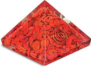 PREK Red Jasper Orgone Pyramid Gemstone & EMF Protection Home Table Decor Showpiece Decoration Gift itemsSize: 1 Inch