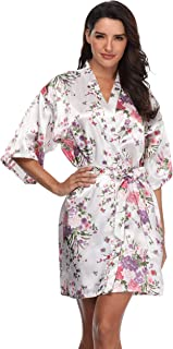 Women's Floral Bride Bridesmaids Robe Satin Wedding Kimono Bridal Dressing Gown Sleepwear