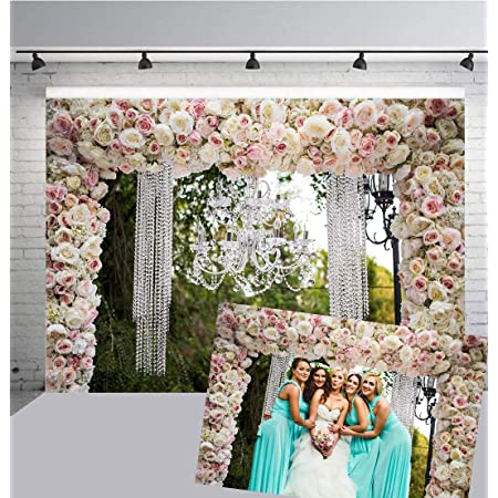 Wedding Ceremony Background 10x6.5ft White Blossom Roses Polyester Photography Backdrop Floral Flowers Wall Romantic Baby Shower Newborn Lover Personal Portraits Shoot Party Decor Banner