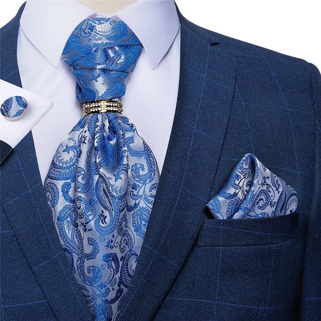 ZLBYB Men Vintage Sky Blue Wedding Formal Cravat Tie Self British Style Gentleman Silk Necktie Pocket Square Set (Color : Gold Ring, Size : One Size)