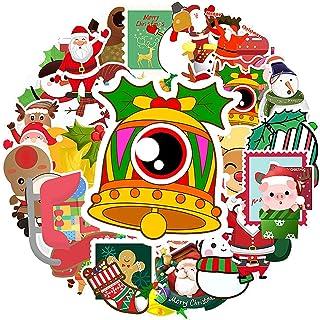 Woohooens Etiquetas Papel Kraft Pegatinas Decoration Reutilizables vinilos navideños Copo de Nieve Santa Claus Reno calcom...