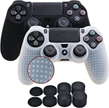 YoRHa Studded Silicone Cover Skin Case for Sony PS4/slim/Pro Dualshock 4 controller x 2(black+white) With Pro thumb grips x 8