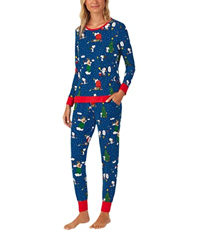BedHead Pajamas Long Sleeve Crew Neck Joggers Pajama Set (Snoopy