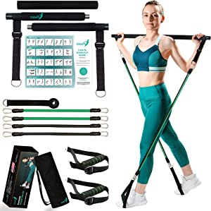 CobyFit Pilates Bar with Resistance Bands for Women and Men - Portable Pilates Bar Kit for Body Fitness - Exercise Bar with Adjustable Resistance Bands - at Home Gym Workout Equipment - Workout Guide