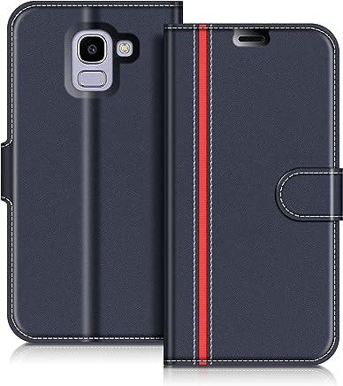 COODIO Custodia in Pelle Samsung Galaxy J6 2018, Custodia Samsung J600, Custodia Portafoglio Cover Porta Carte Chiusura Magnetica per Samsung J600 Galaxy J6 2018, Blu Scuro/Rosso