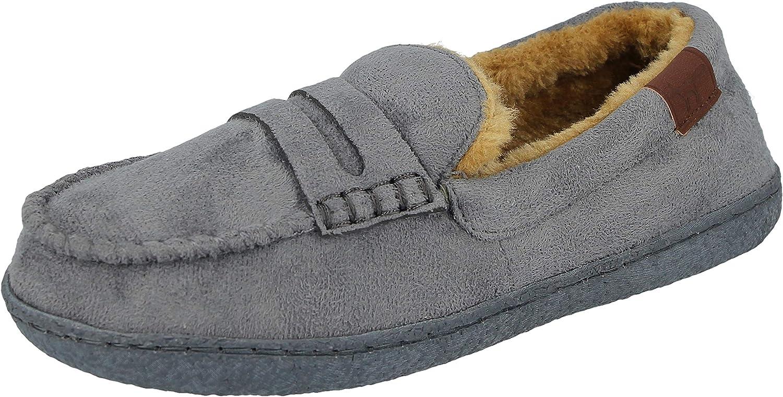 Yinka Shoes Boys Kids Faux Suede Slip On Warm Sherpa Fleece Lined Moccasin Slippers Size 1-6