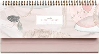 """Pink Abstract Non-Dated Spiral Weekly 60 Week Pad, 3.75"""" x 10.5"""", La Lune Collection by Bright Day"""