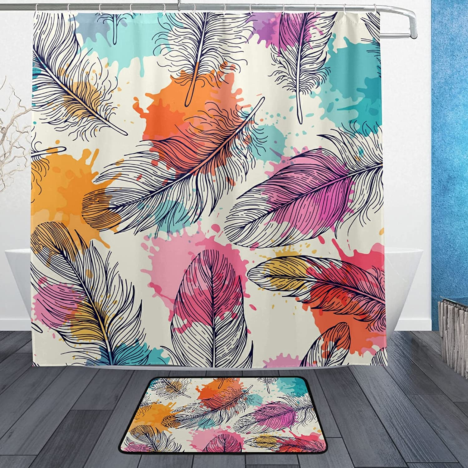 Feather Seamless Shower Curtains Compatible Liners Standard Price reduction Ranking TOP12 with