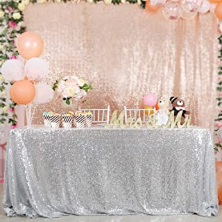 QueenDream Sequin Tablecloth Silver Overlay Sparkly Dinner Linen Wedding Christmas Festival 50x80-inch